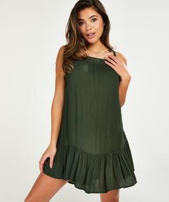 Mini-klänning med flätade axelband, grön