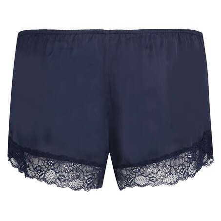 Satin pyjamasshorts, blå