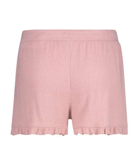 Shorts med spets i borstat ribbtyg, Rosa