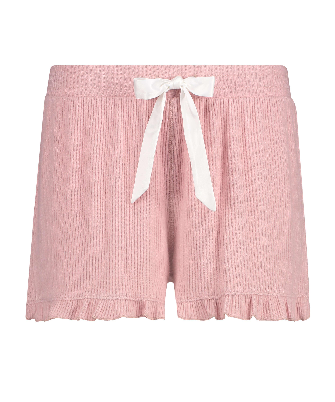 Shorts med spets i borstat ribbtyg, Rosa, main