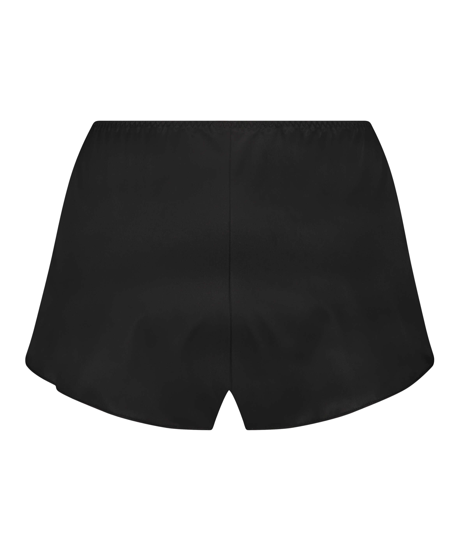 Amelia Tap Satin Shorts, Svart, main