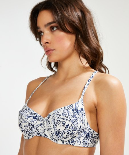Paisley icke-formpressad bikiniöverdel med bygel, Vit