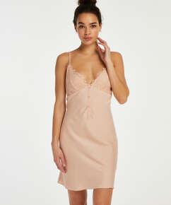 Button-down-underklänning i satin, Beige