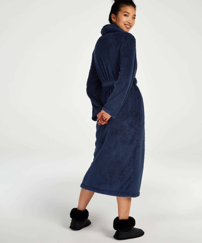 Lång morgonrock Fleece, blå, main