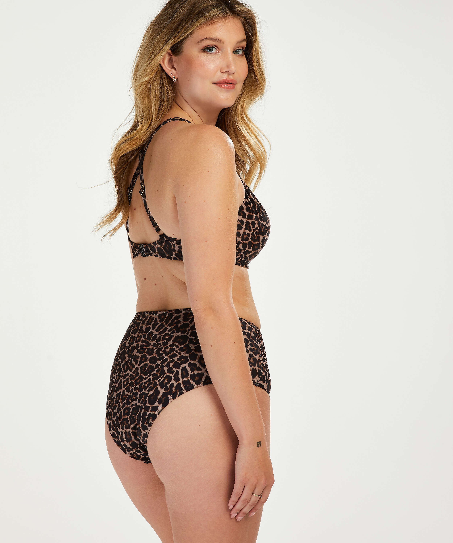 Formpressad bikinitopp med bygel Leopard, Beige, main
