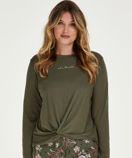 Långärmad top Jersey Knot, grön
