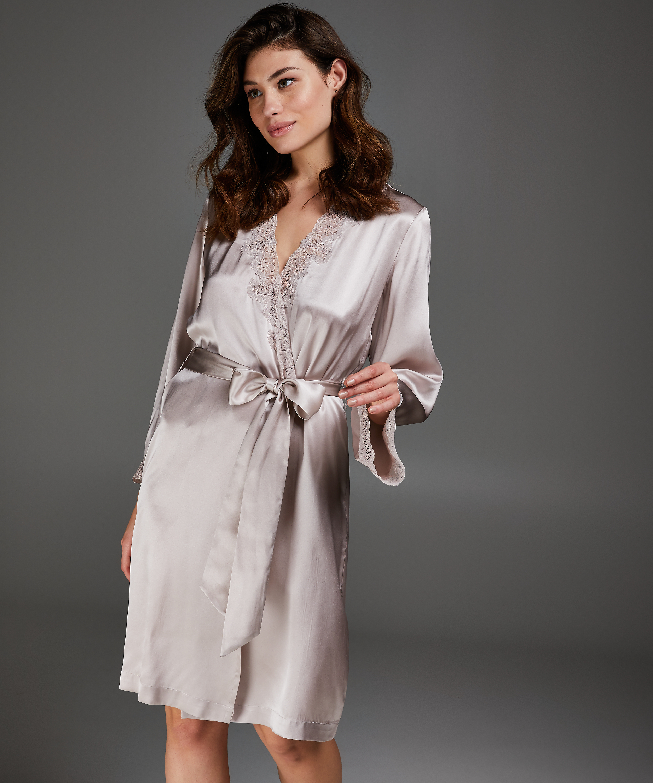 Kimono med kant i sidenspets, Rosa, main