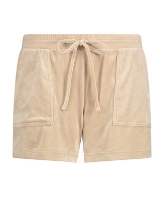 Sammetsshorts med ficka, Beige