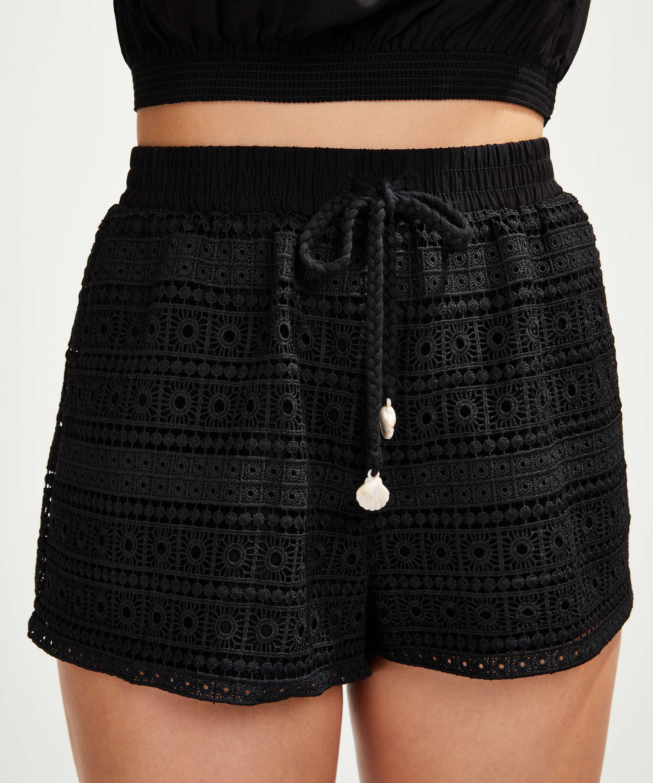 Virkade shorts, Svart, main