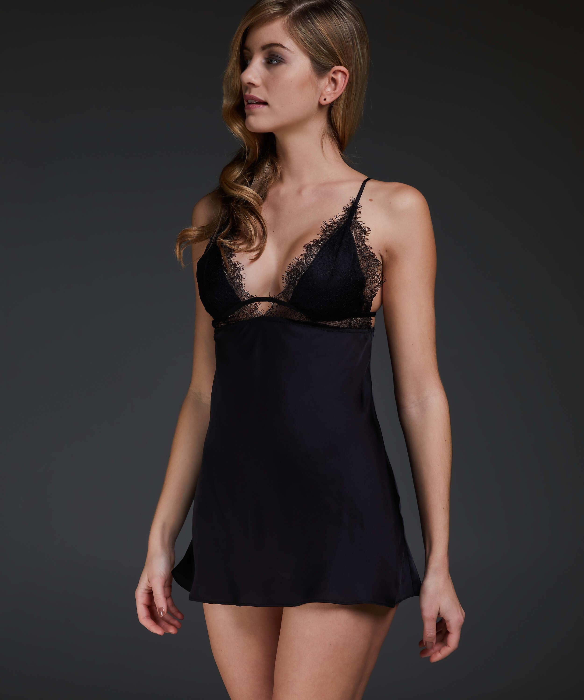 Satin Holly underklänning, Svart, main