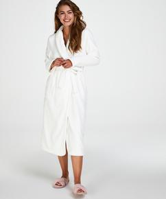 Ribbad badrock av fleece lång, Vit