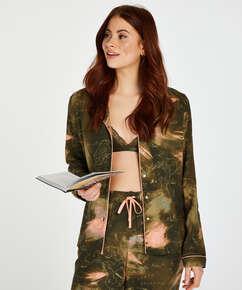 Långärmad pyjamastopp med världskarta, grön