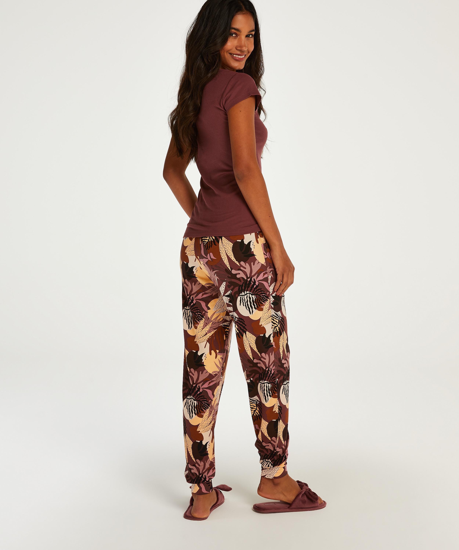 Petite pyjamasbyxor i jersey med abstrakta blad, Rosa, main