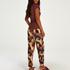 Petite pyjamasbyxor i jersey med abstrakta blad, Rosa