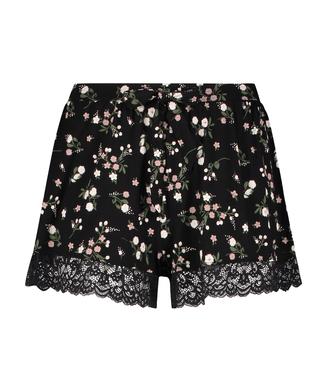 Ditzy blommönstrade shorts, Svart