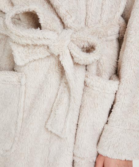Long Fleece Bathrobe, Beige