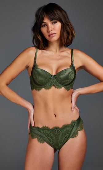Hannako vadderad bygelbehå, grön