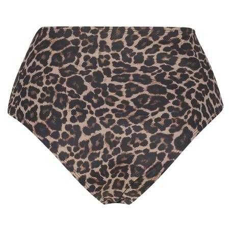 Djärvt skuren Leopard-bikniunderdel, Beige
