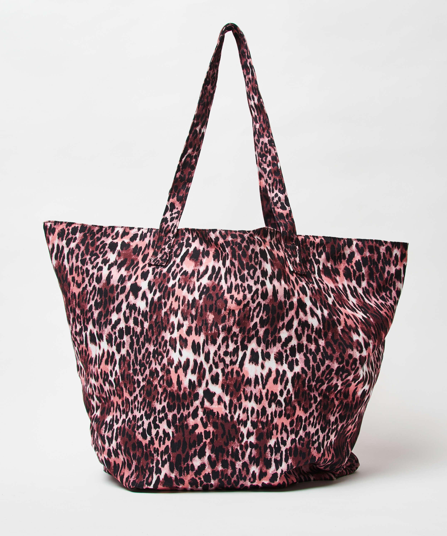 Leopard strandväska, Brun, main