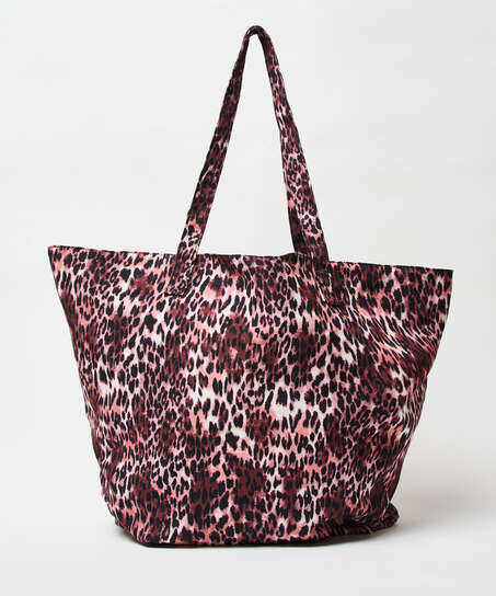 Leopard strandväska, Brun