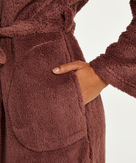 Lång morgonrock Fleece, Rosa