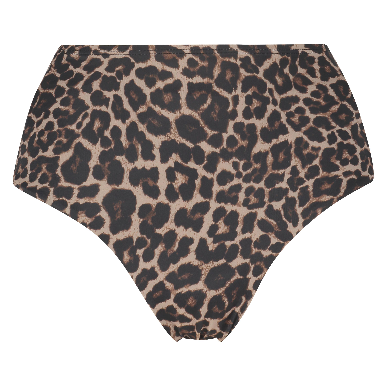 Djärvt skuren Leopard-bikniunderdel, Beige, main