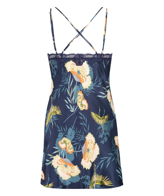 Underklänning med tropisk vadarfågel, blå, main