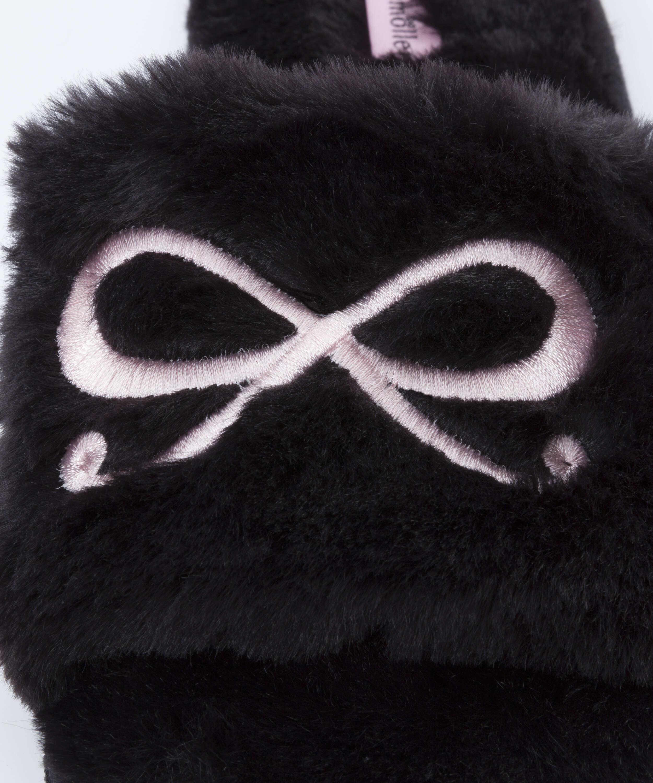 Tofflor Bow Fake Fur Top, Svart, main