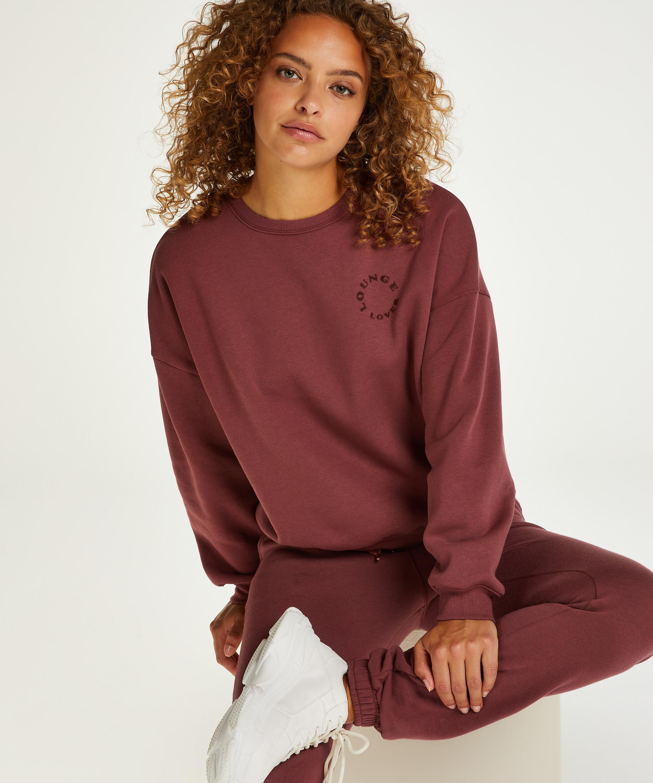 Borstad långärmad boyfriend-tröja, Rosa, main