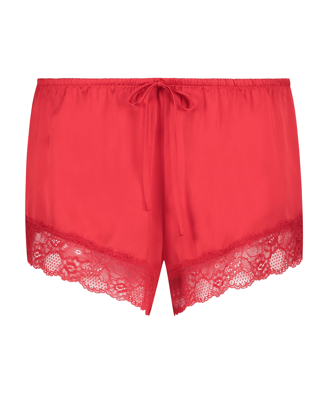 Satin pyjamasshorts, röd, main