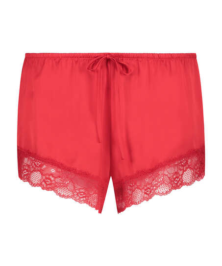 Satin pyjamasshorts, röd