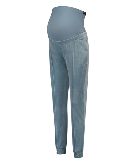 Mamma-joggingbyxa i velours, blå