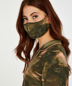 Ansiktsmask med världskarta, grön