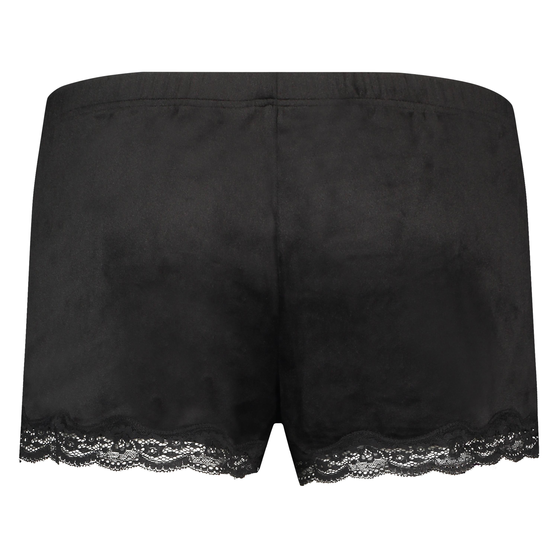 Shorts i sammet och spets, Svart, main