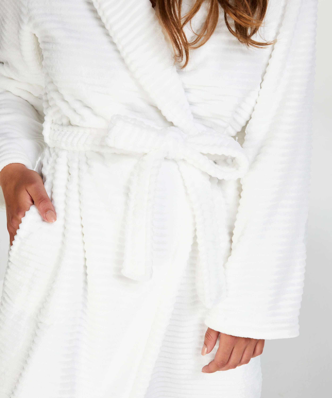 Ribbad badrock av fleece lång, Vit, main