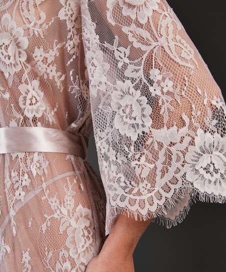 Lång kimono Allover Lace, Beige