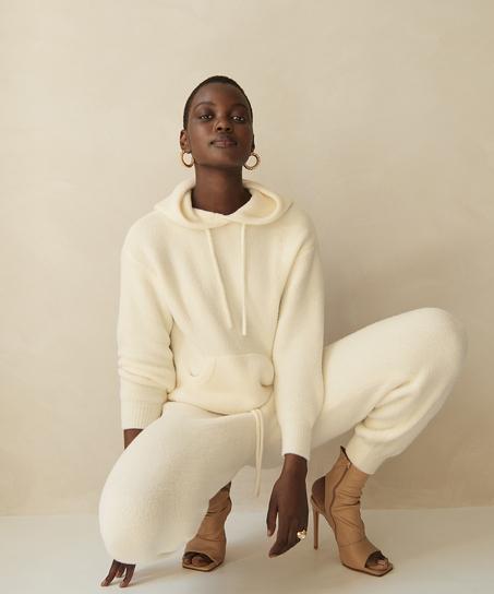 Premium Fluffly långärmad hoodie, Vit