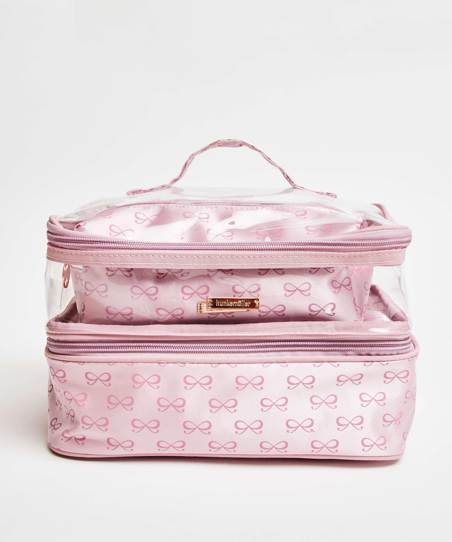 3-pack makeupväska, Rosa, main