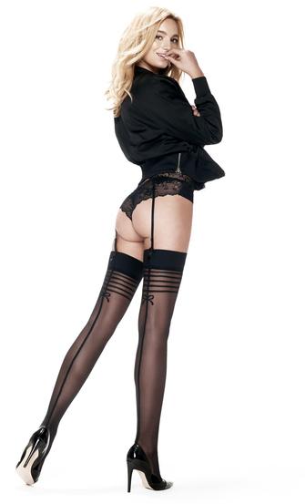 Stockings 30 denier Delicate Lines, Svart