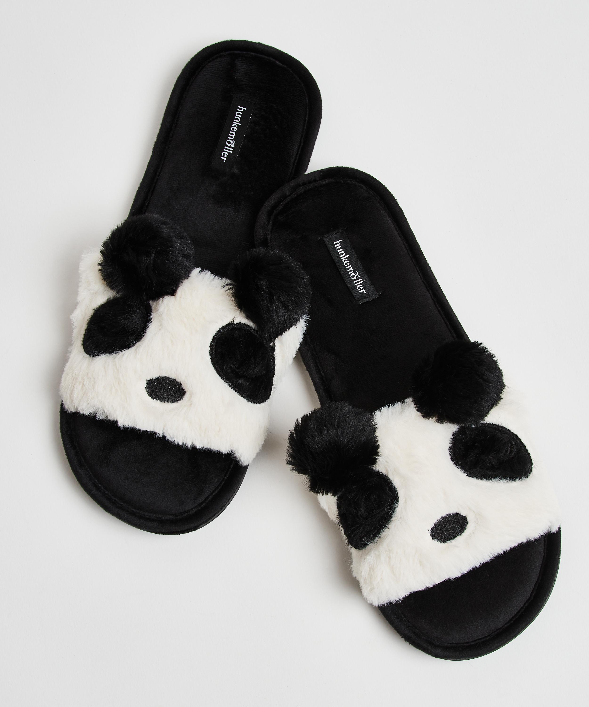 Panda-tofflor, Svart, main