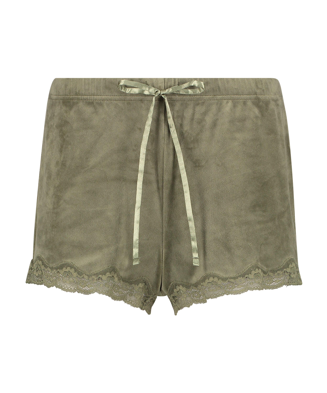 Shorts i sammet och spets, grön, main