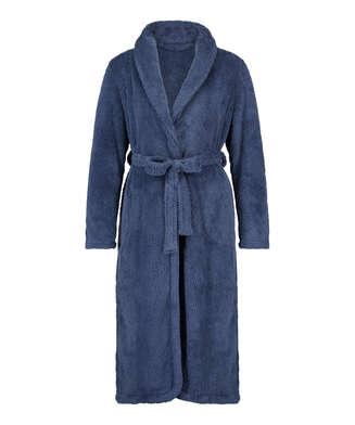 Lång morgonrock Fleece, blå