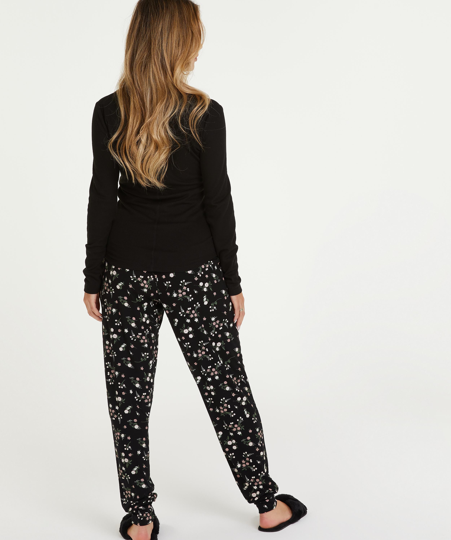 Pyjamastopp med långa ärmar, Svart, main