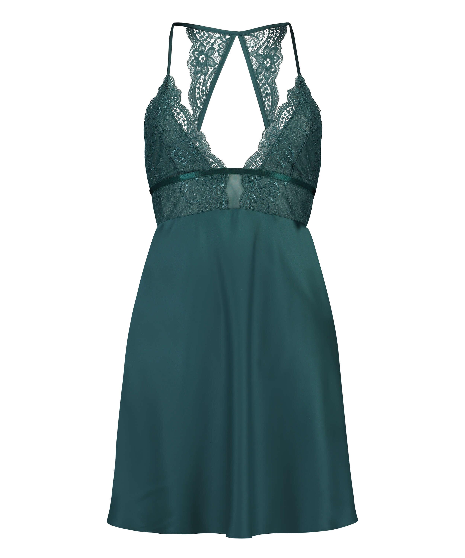 Underklänning i satin och spets, blå, main