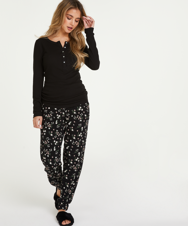 Jersey pyjamasbyxor, Svart, main
