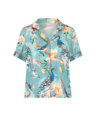 Kortärmad pyjamastopp med påfågelmönster, blå