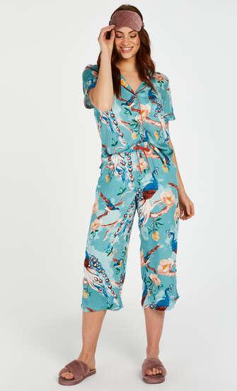 Pyjamasbyxor med påfågelmönster, blå
