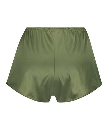 Amelia Tap Satin Shorts, grön