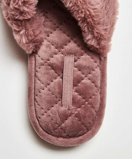 Tofflor Fake Fur, Lila
