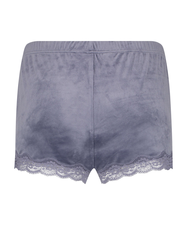 Shorts i sammet och spets, Grå, main